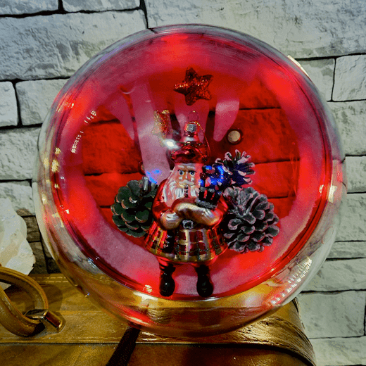 Transparante KerstBal Rood Kerstman